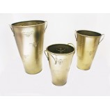SET 3 VASES GALVANIZED