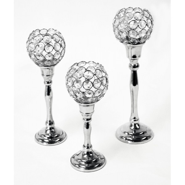 set 3 candle holders with crystal balls