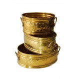 Planters Set of 3 Pieces Solid Brass