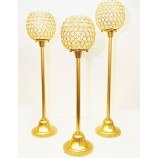 SET 3 CRYSTAL BALLS 6 INS WITH STANDS-GLD
