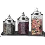 S/3 Octagonal Jars w/tray