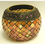 Round Beaded Mosaic Votive