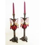 Candle Holder W/ Red Beads
