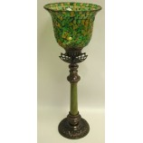Tall Candle Holder with Mosaic Hurricane