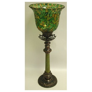 9621 | Tall Candle Holder with Mosaic Hurricane  sc 1 st  IMA Brass : mosaic candle sconces - www.canuckmediamonitor.org