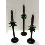 Set of 3 Pineapple Candle Holders+Glass