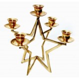 Solid Brass Gold Five Lite Star Candle Holder