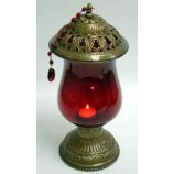 Candle Holder With Red Hurricane